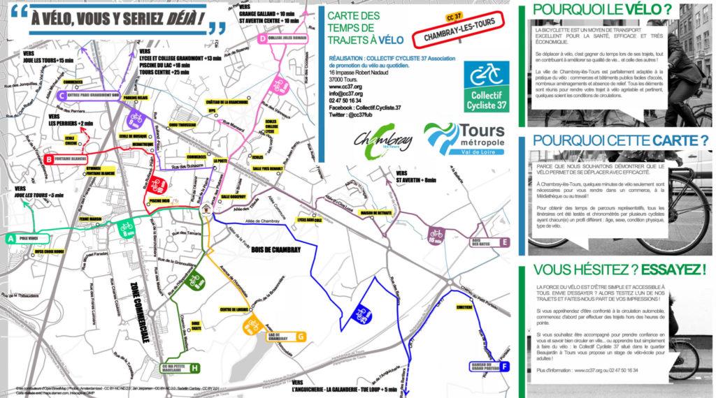 Carte des temps de trajets à vélo sur la commune de Chambray-lès-Tours. @CC37, 2017.