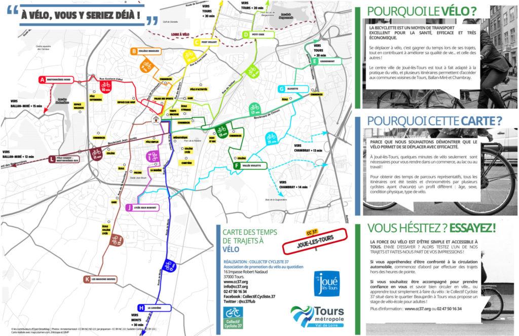 Carte des temps de trajets à vélo sur la commune de Joué-lès-Tours. @CC37, 2018.