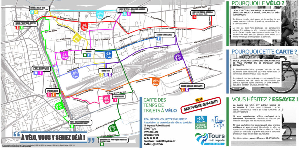 Carte des temps de trajets à vélo sur la commune de Saint-Pierre-des-Corps. @CC37, 2016.