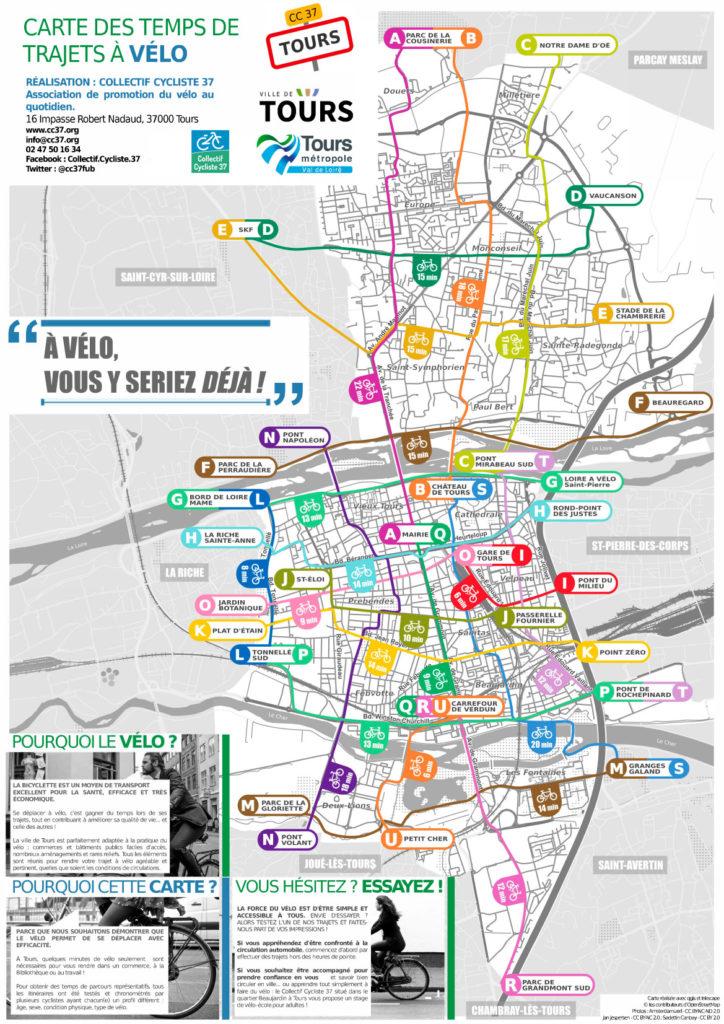 Carte des temps de trajets à vélo sur la commune de Tours. @CC37, 2019.