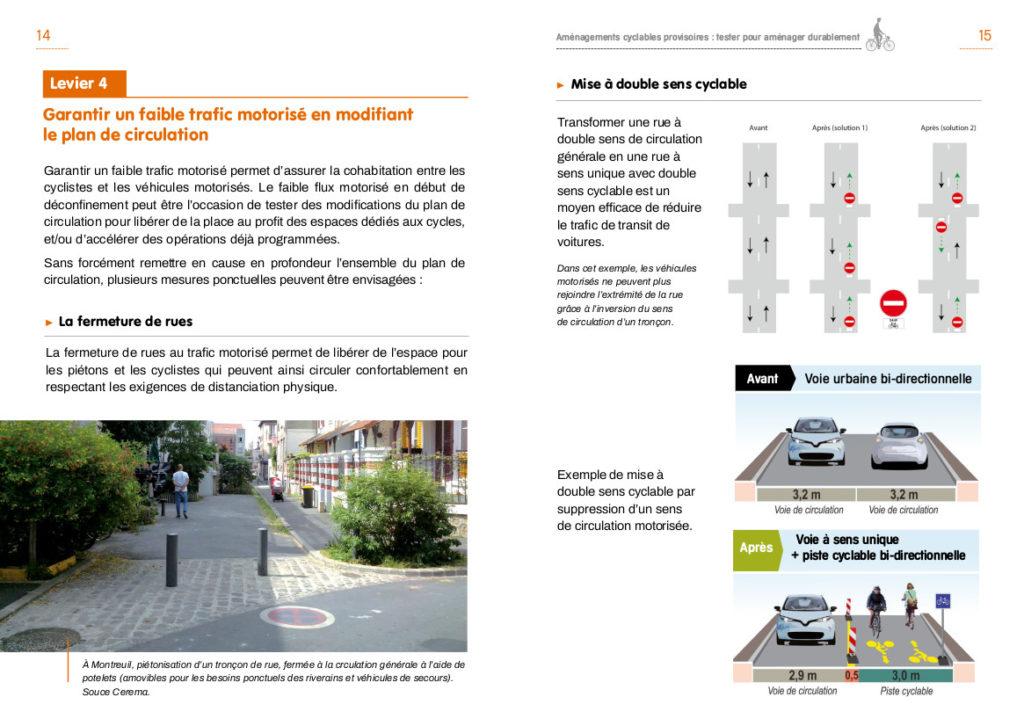 Cerema : guide express « Aménagements cyclables provisoires : tester pour aménager durablement ». Ed. Les Cahiers du Cerema, mai 2020.