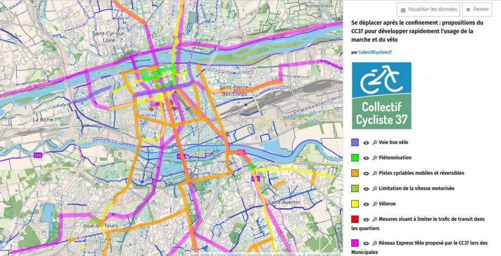 Carte récapitulative des propositions du Collectif Cycliste 37. uMap / OpenStreetMap, 2020