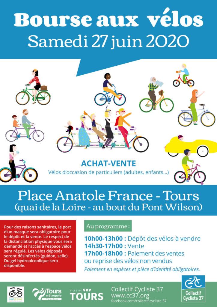 Affiche de la bourse aux vélos d'occasion 2020 organisée par le Collectif Cycliste 37 et le Syndicat des Mobilités de Touraine en partenariat avec la Ville de Tours et Tours Métropole Val de Loire. @CC37 / réalisation : Eszett