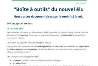 Boîte à outils vélo du nouvel élu. Ressources documentaires sur la mobilité à vélo. @Collectif Cycliste 37, juin 2020