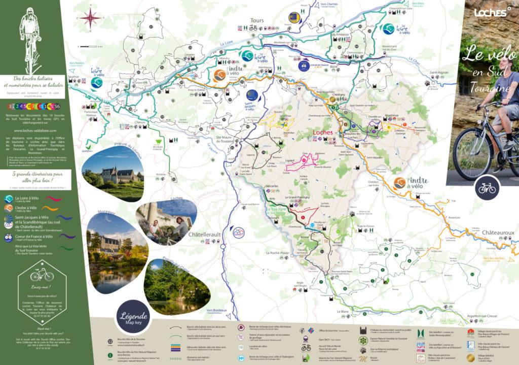 """Carte vélo du Sud Touraine, dépliant """"Loches, l'art de flâner"""". @CC Loches Sud Touraine, 2020."""