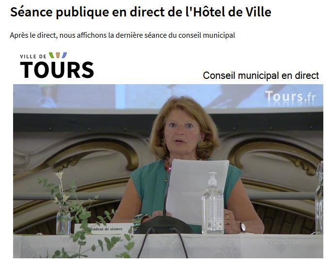 Armelle Gallot-lavallée, présidant le premier Conseil municipal de la ville de Tours à la suite des élections municipales de 2020.