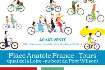 Affiche de la bourse aux vélos d'occasion du samedi 26 septembre 2020 organisée par le Collectif Cycliste 37 et le Syndicat des Mobilités de Touraine en partenariat avec la Ville de Tours et Tours Métropole Val de Loire. @CC37 / réalisation : Eszett