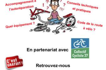 """Affiche du CROUS Orléans-Tours """"Diagnostic gratuit de votre vélo"""". Une action en partenariat avec le CLOUS de Tours et le Collectif Cycliste 37. @CROUS Orléans-Tours"""