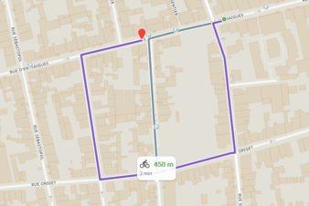 Des itinéraires cyclables discontinus et peu compréhensibles. Tours, quartier des Prébendes.