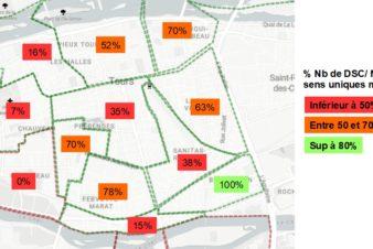 Pourcentage de voies en double-sens cyclable dans les différents quartiers de Tours centre (entre Loire et Cher). Source : Observatoire des doubles-sens cyclables (version Octobre 2020) créé par le Collectif Cycliste 37.