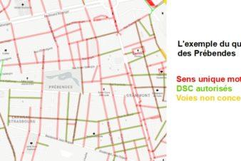 Pourcentage de voies en double-sens cyclable dans le quartier des Prébendes, Tours centre. Source : Observatoire des doubles-sens cyclables (version Octobre 2020) créé par le Collectif Cycliste 37.