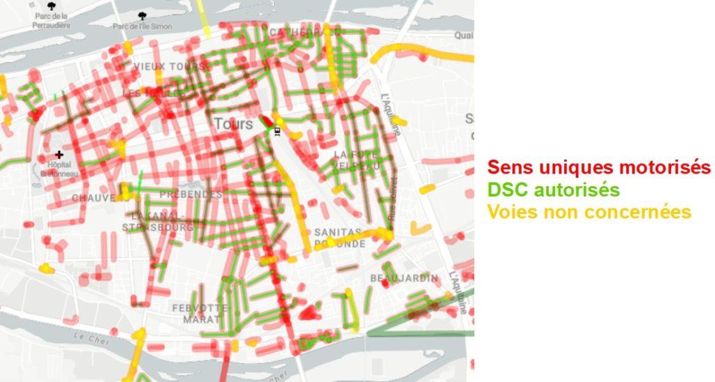 Répartition des sens uniques et des double-sens cyclables à Tours Centre. Source : Observatoire des Doubles Sens Cyclables (version Octobre 2020) créé par le Collectif Cycliste 37.