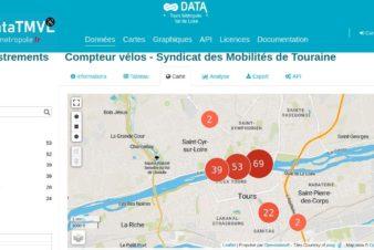 Carte de l'implantation des compteurs vélos de l'agglomération tourangelle. Extrait du site data.tours-metropole.fr, novembre 2020.