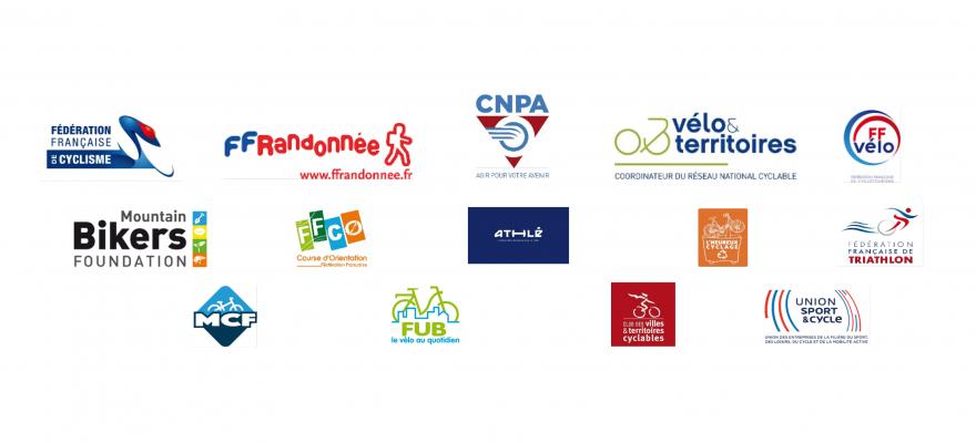 Logos des 16 réseaux et fédérations signataires de la tribune, dont la FUB, demandant la levée de la limite d'un kilomètre du domicile pour le motif d'activité physique