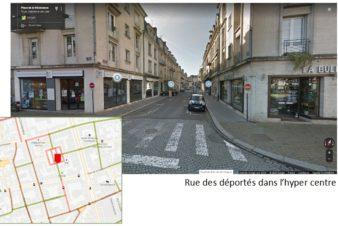 Des itinéraires cyclables discontinus et peu compréhensibles. Tours, rue des Déportés.