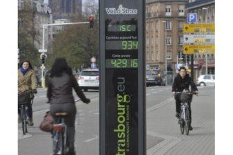 Totem associé à un compteur vélos, parc de l'Étoile, à Strasbourg. @Photo DNA – Marc ROLLMANN, 2013.