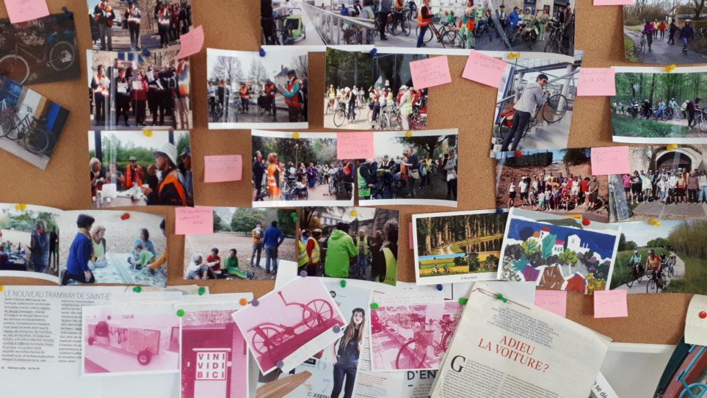 Panneau de photos dans les locaux du Collectif Cycliste 37.