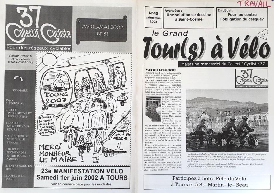 """Couvertures du """"Grand Tour(s) à vélo"""", le magazine trimestriel du Collectif Cycliste 37 jusqu'en 2014."""