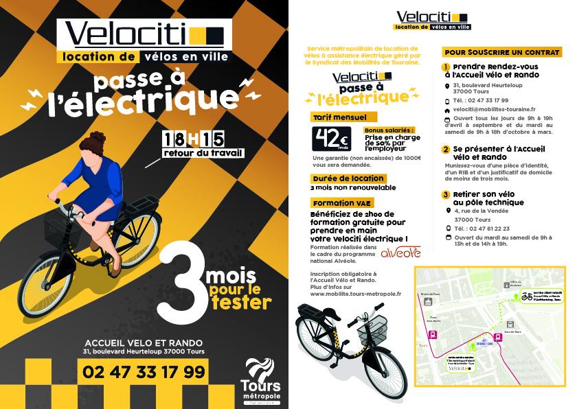 Flyer Velociti VAE. @Tours Métropole Val de Loire, 2020.