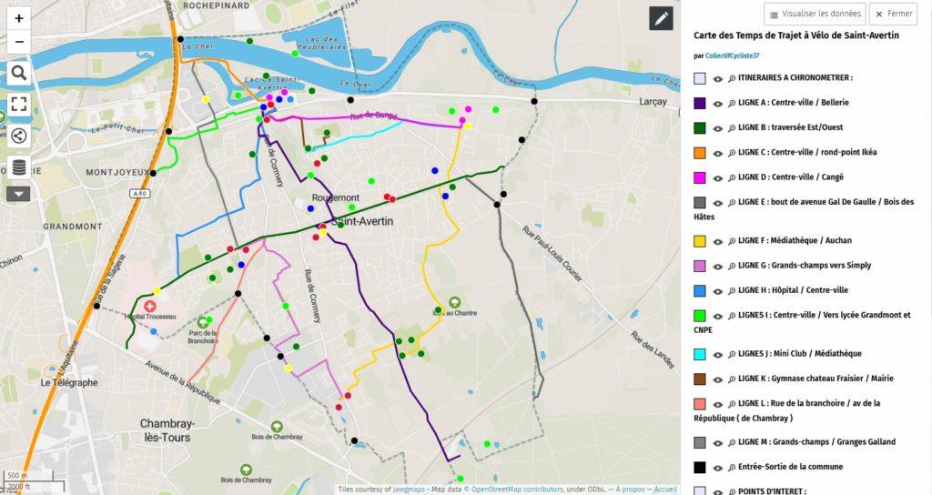 carte des temps de trajet à vélo Saint Avertin umap