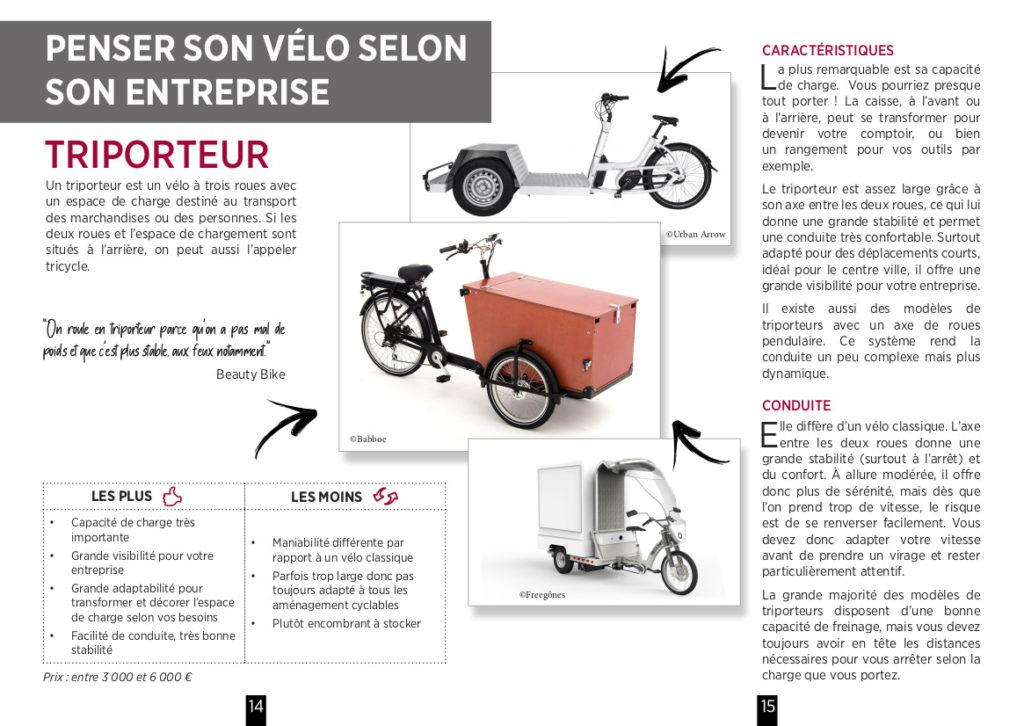 """Double-page extraite du guide """"Devenir entrepreneur à vélo"""" réalisé par Vélo-Cité, Bordeaux, septembre 2020."""