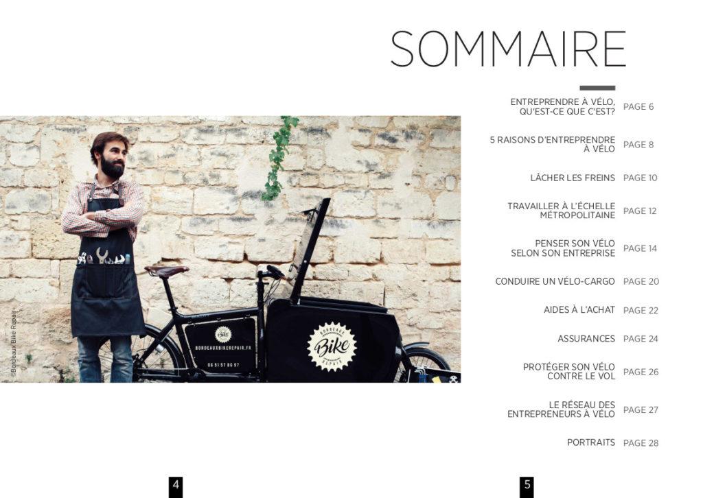 """Sommaire du guide """"Devenir entrepreneur à vélo"""" réalisé par Vélo-Cité, Bordeaux, septembre 2020."""
