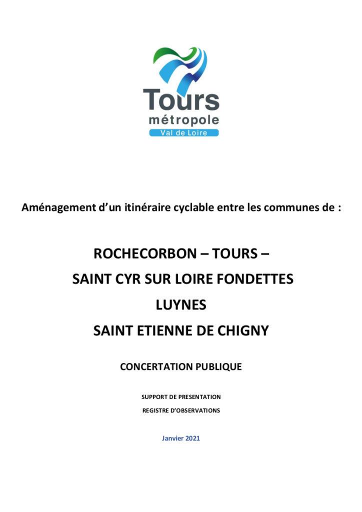 Couverture du dossier de concertation publique relatif à l'itinéraire n°9 du schéma directeur vélo de Tours Métropole Val de Loire.