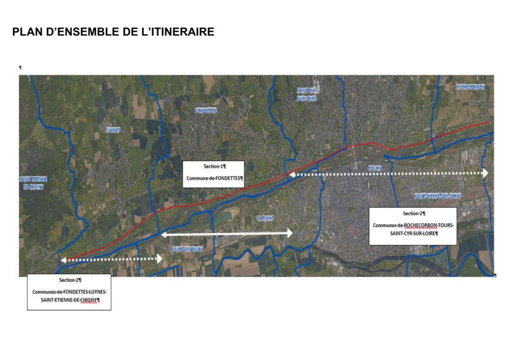 Plan d'ensemble de l'itinéraire n°9 du schéma directeur vélo de Tours Métropole Val de Loire.