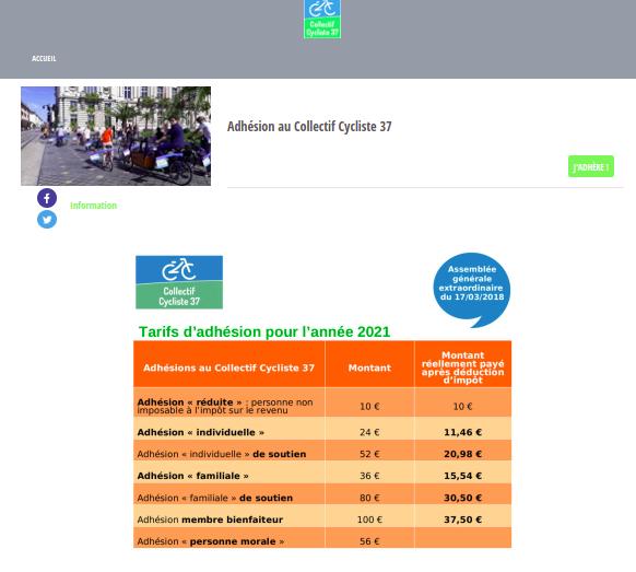 Page dédiée aux adhésions en ligne au Collectif Cycliste 37.