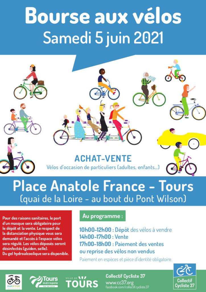 Affiche de la bourse aux vélos d'occasion du samedi 5 juin 2021 organisée par le Collectif Cycliste 37 et le Syndicat des Mobilités de Touraine en partenariat avec la Ville de Tours et Tours Métropole Val de Loire. @CC37 / réalisation : Eszett