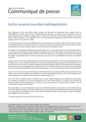 Lettre ouverte aux élus métropolitains : «Pour un réseau ambitieux de pistes cyclables à l'horizon 2026»