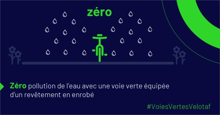 Zéro pollution de l'eau avec une voie verte équipée d'un revêtement en enrobé. @AF3V, 2021.