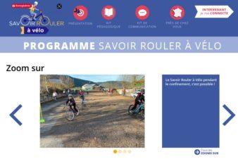 """Page d'accueil du site """"Savoir rouler à vélo"""", Ministère des Sports, 2021."""