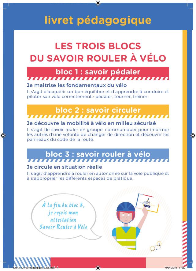 """Les trois blocs d'apprentissage du """"Savoir rouler à vélo"""", livret pédagogique, Ministère des Sports, 2021."""