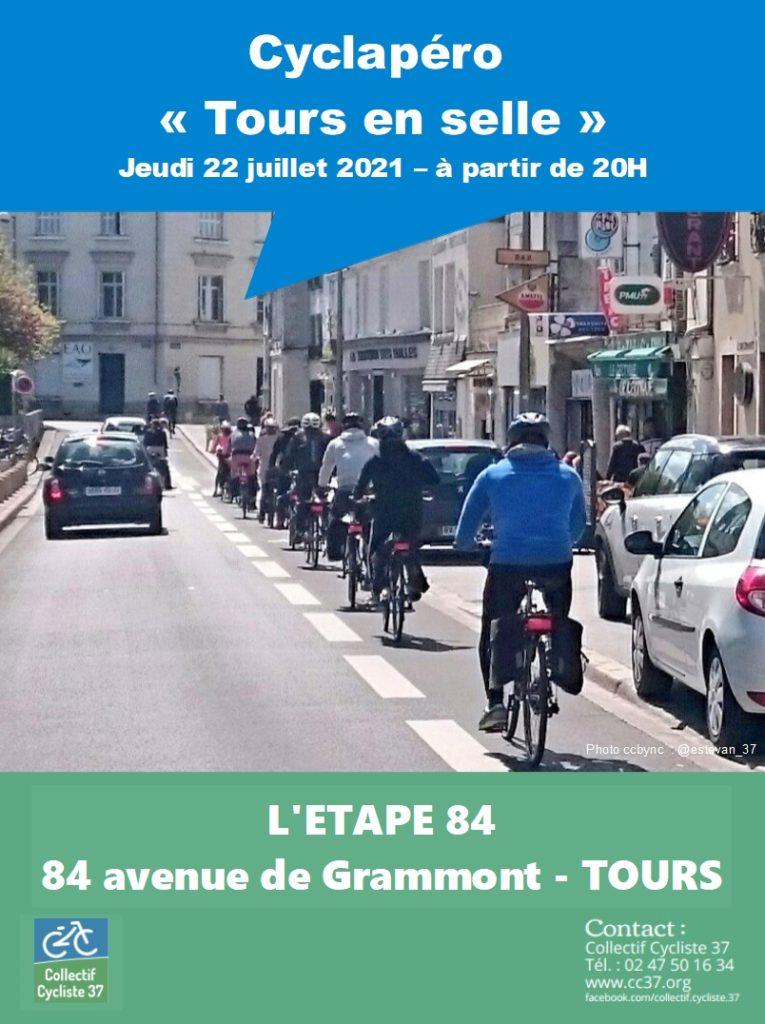 Cyclapéro Tours en selle le 22 juillet 2021