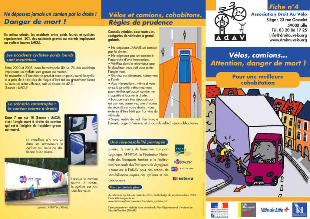 """Fiche n°4 de l'ADAV, association Droit au vélo, """"Vélos, camions... Attention, danger de mort ! Pour une meilleur cohabitation"""", ADAV, 2006."""