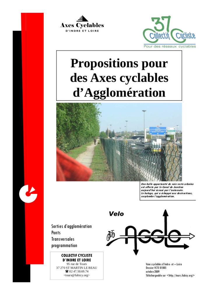 """Dossier """"Propositions pour des axes cyclables d'agglomération"""", Collectif Cycliste 37, octobre 2009."""