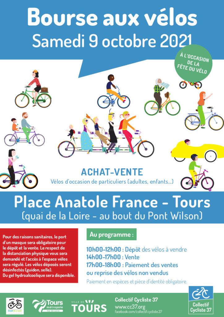 Affiche de la bourse aux vélos d'occasion du samedi 9 octobre 2021 organisée par le Collectif Cycliste 37, avec le soutien du Syndicat des Mobilités de Touraine en partenariat avec la Ville de Tours et Tours Métropole Val de Loire. @CC37 / réalisation : Eszett