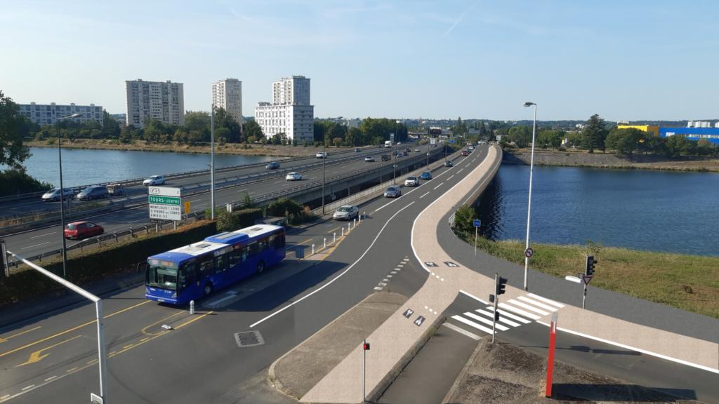 Proposition du CC37 pour un aménagement cyclable continu, sûr et séparé sur le pont d'Arcole, entre Tours et Saint-Avertin.